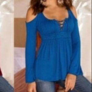 Lace up cold shoulder blouse